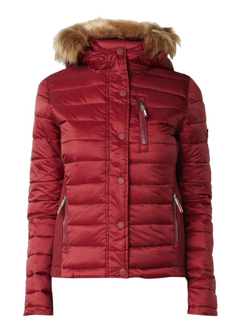 Superdry gewatteerde winterjas bordeauxrood