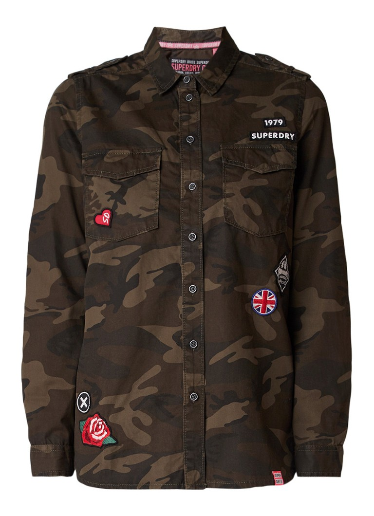 Superdry Military blouse van katoen met camouflageprint en applicaties