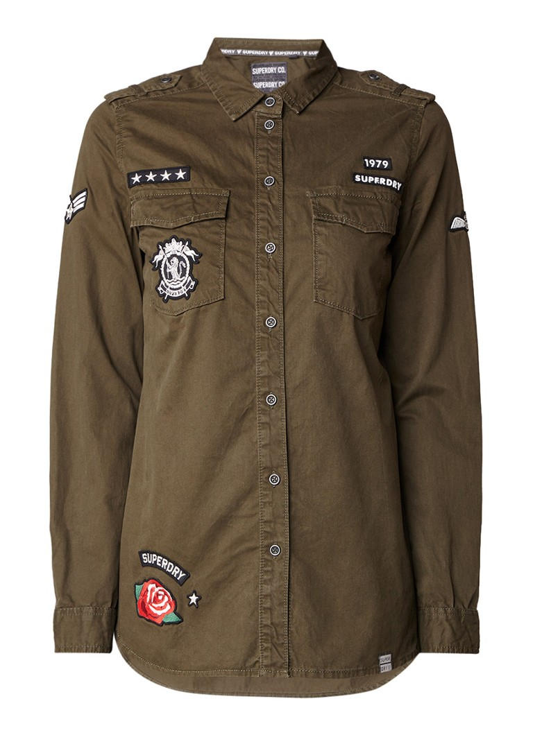 Superdry Military blouse met borstzak en patches