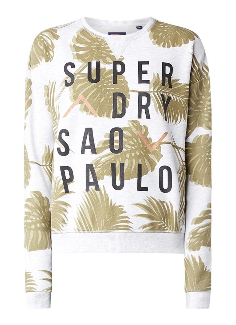 Superdry Rio sweater met bladdessin en logoprint