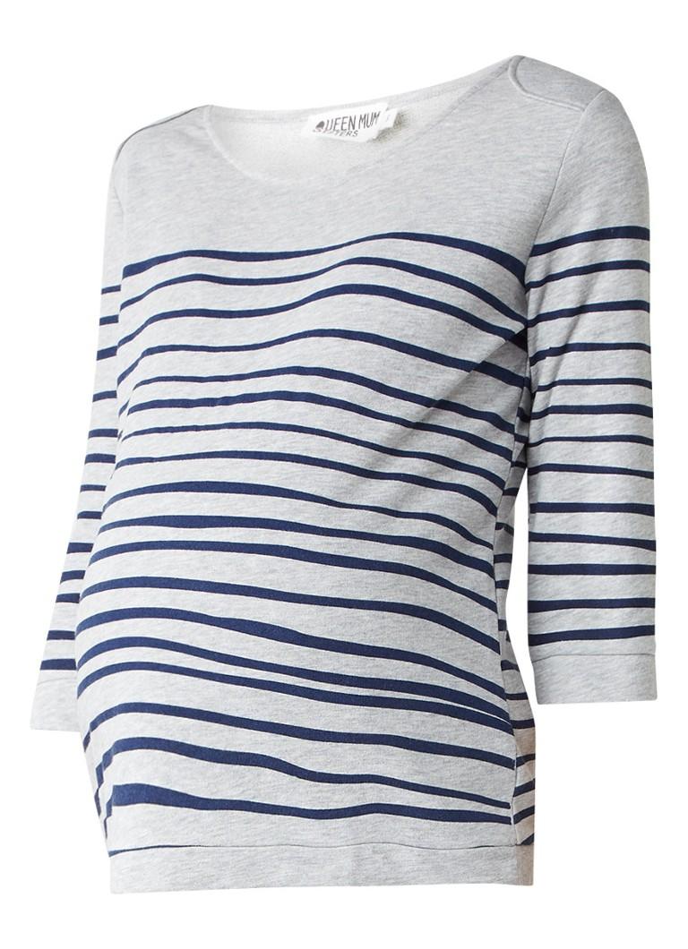 Queen Mum Zwangerschapssweater met streepdessin blauw