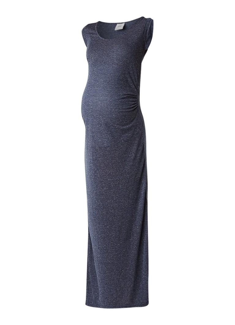 Mama Licious Nella maxi zwangerschapsjurk in linnenblend donkerblauw