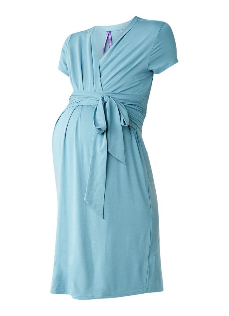 Seraphine Abbey zwangerschapsjurk met strikceintuur aquablauw