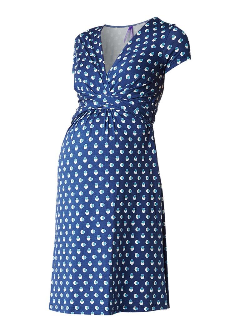 Seraphine Paula zwangerschapsjurk met stippendessin donkerblauw