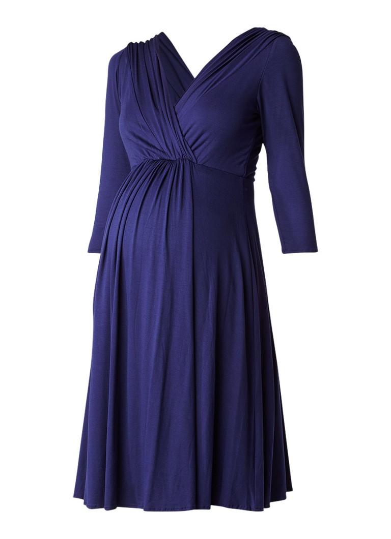 Tiffany Rose Willow zwangerschapsjurk met V-hals donkerblauw