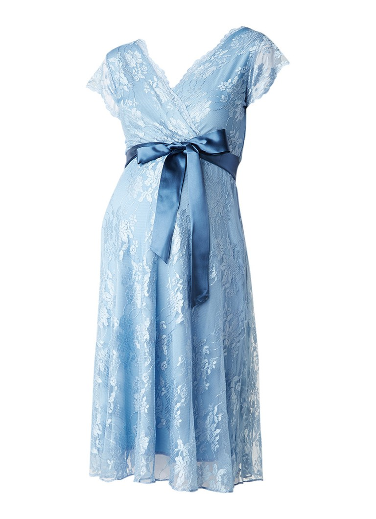 Tiffany Rose Eden zwangerschapsjurk van kant lichtblauw