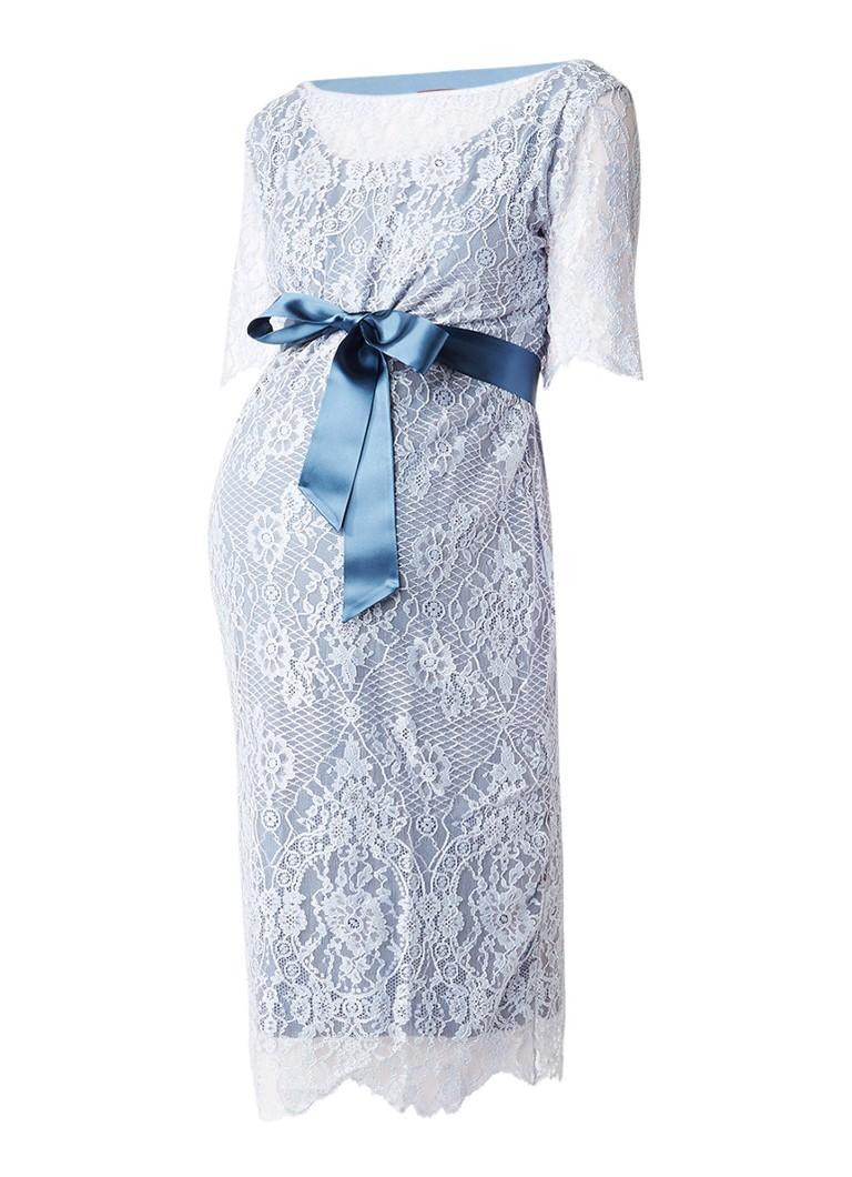 Tiffany Rose Starla zwangerschapsjurk van kant lichtblauw