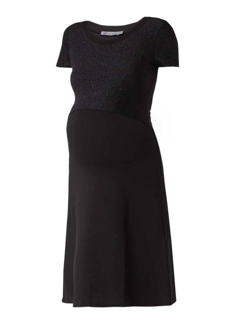 Queen Mum Voedingsjurk van jersey met lurex overlay zwart