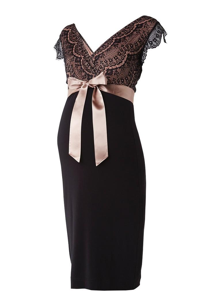Tiffany Rose Rosa zwangerschapsjurk met kant zwart