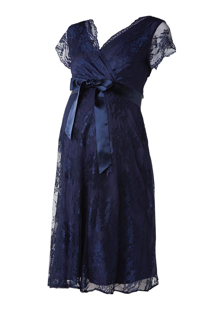 Tiffany Rose Eden zwangerschapsjurk van kant donkerblauw