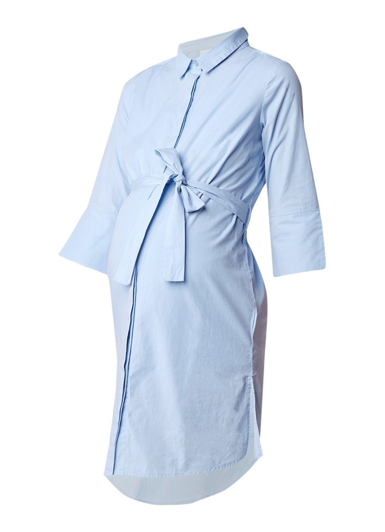 Mama Licious Krista zwangerschapsblousejurk met strikceintuur lichtblauw