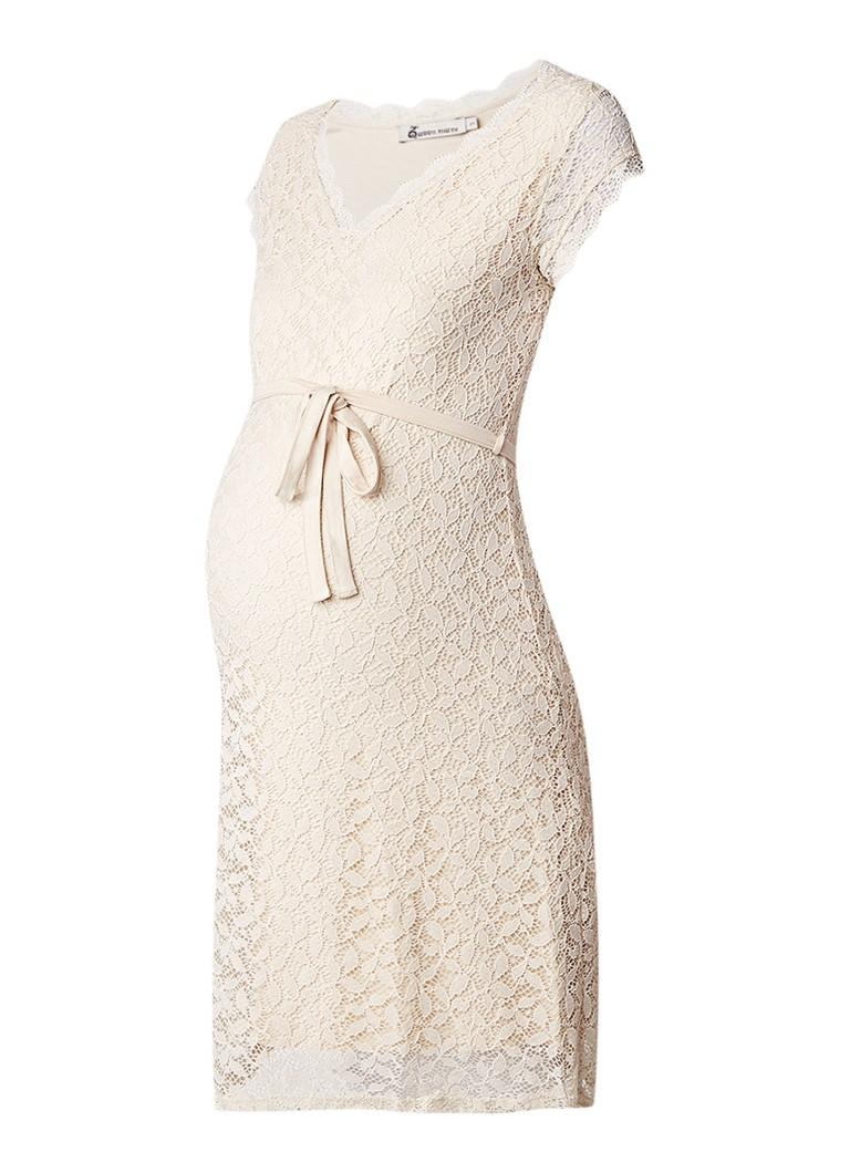 Queen Mum Zwangerschapsjurk van kant met strikdetail gebroken wit