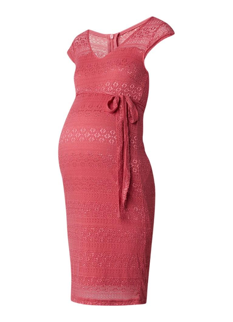 Mama Licious Cabrini zwangerschapsjurk van kant met V-hals roze