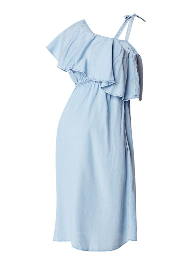 Mama Licious Nesli A-lijn jurk met asymmetrische halslijn en volant indigo