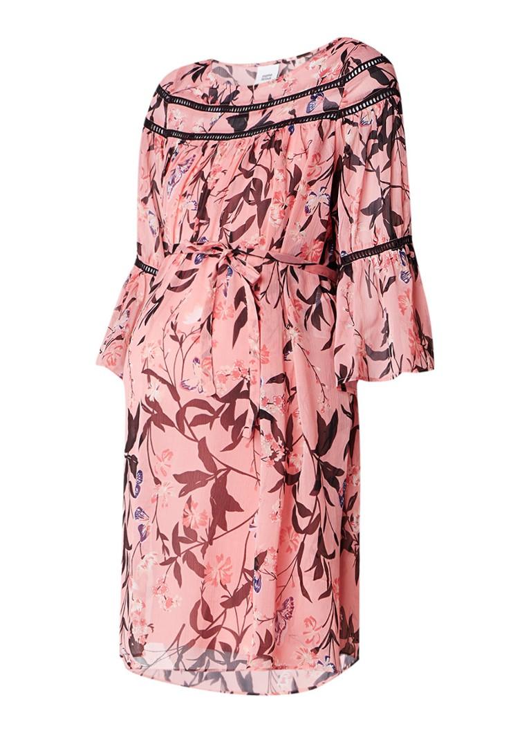 Mama Licious Fiorella zwangerschapsjurk van crêpe met bloemendessin roze