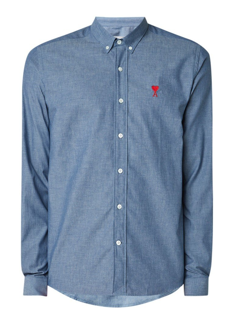 Ami Regular fit chambray button down-overhemd