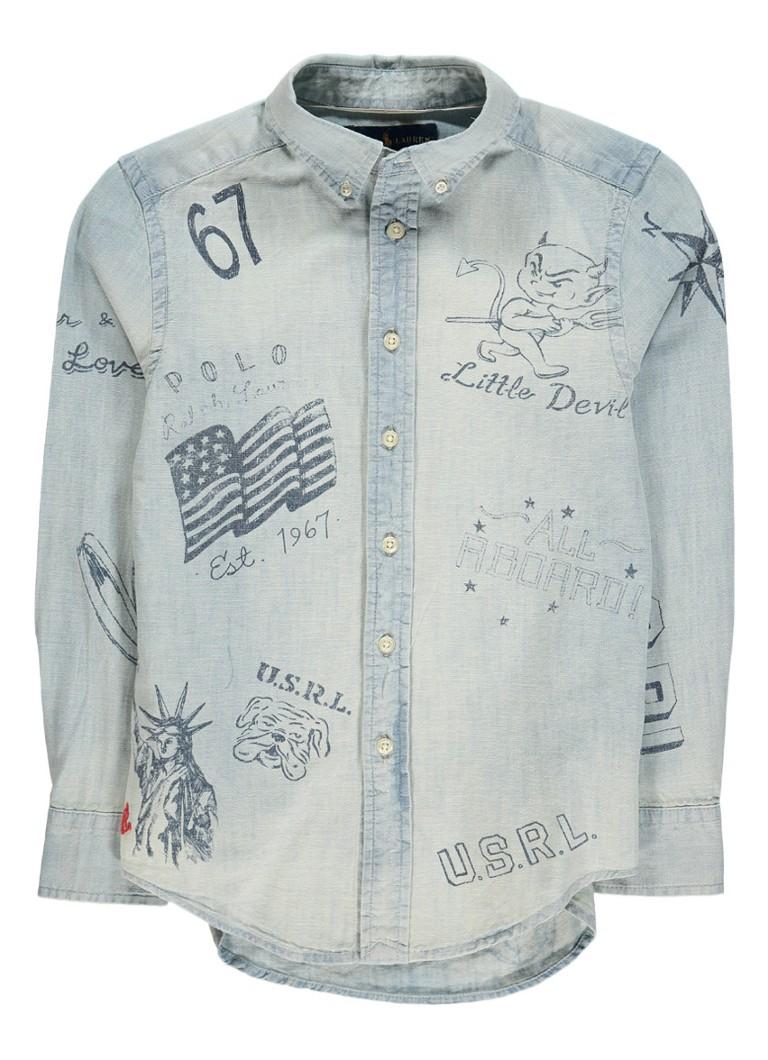 Ralph Lauren Overhemd van denim met opdruk