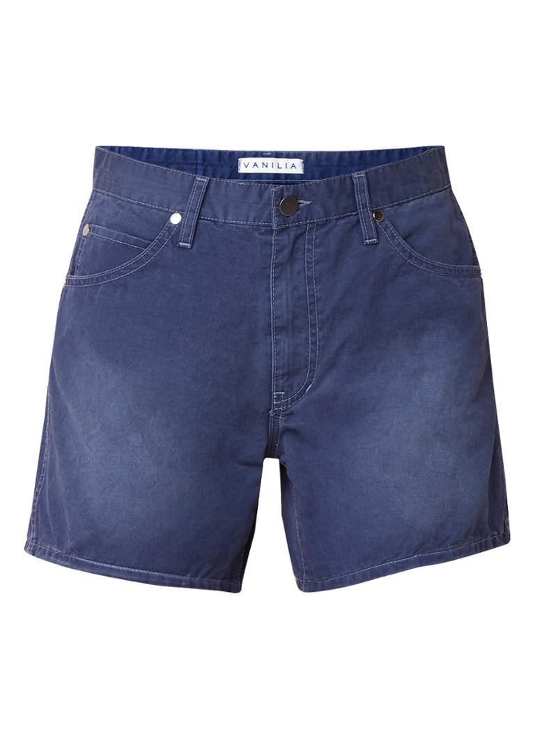 Vanilia Mid rise denim shorts met verwassen look