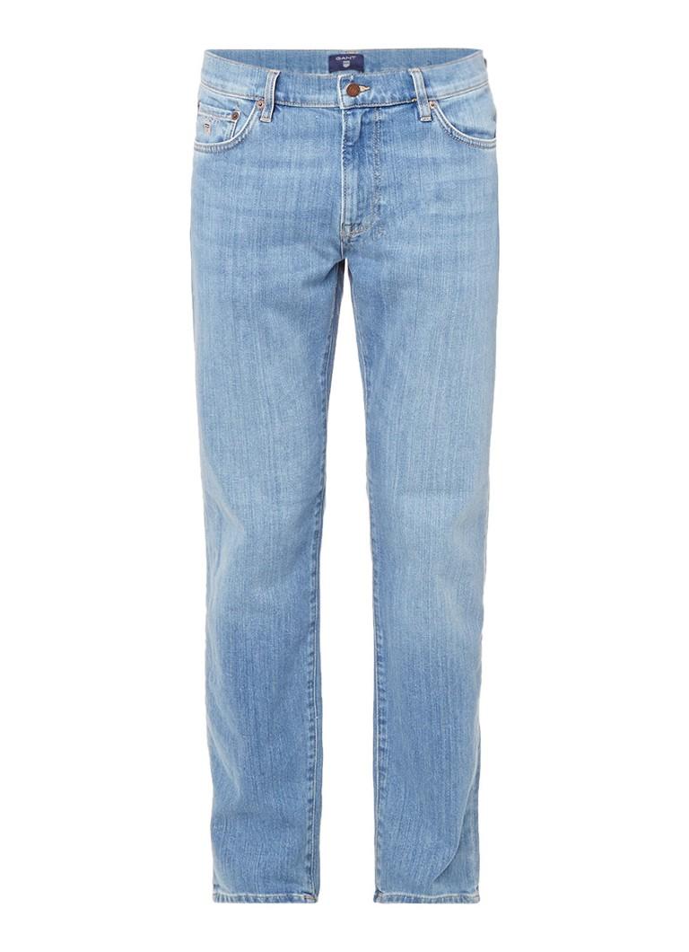 Gant Mid rise slim straight fit jeans met medium wassing