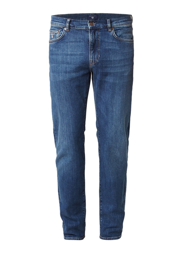 Gant Mid rise slim straight jeans fit met donkere wassing