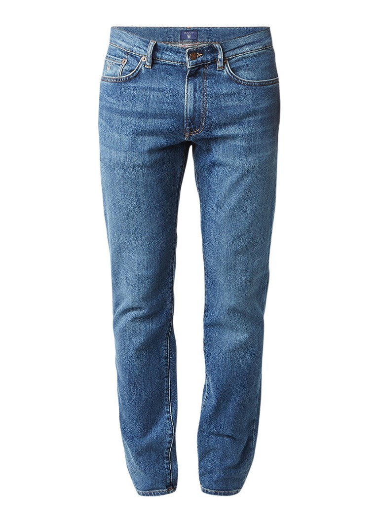 Gant Slim straight fit jeans met medium wassing