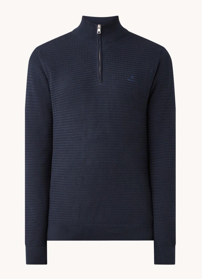 Pullover met halve rits en logoborduring
