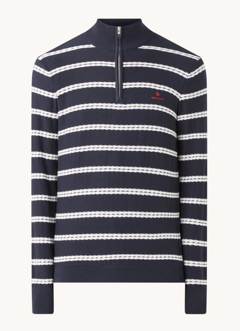 Pullover met streepprint en halve rits
