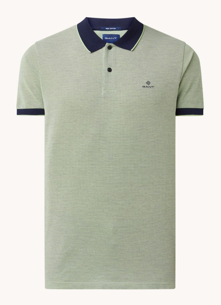 Oxford regular fit polo met microdessin