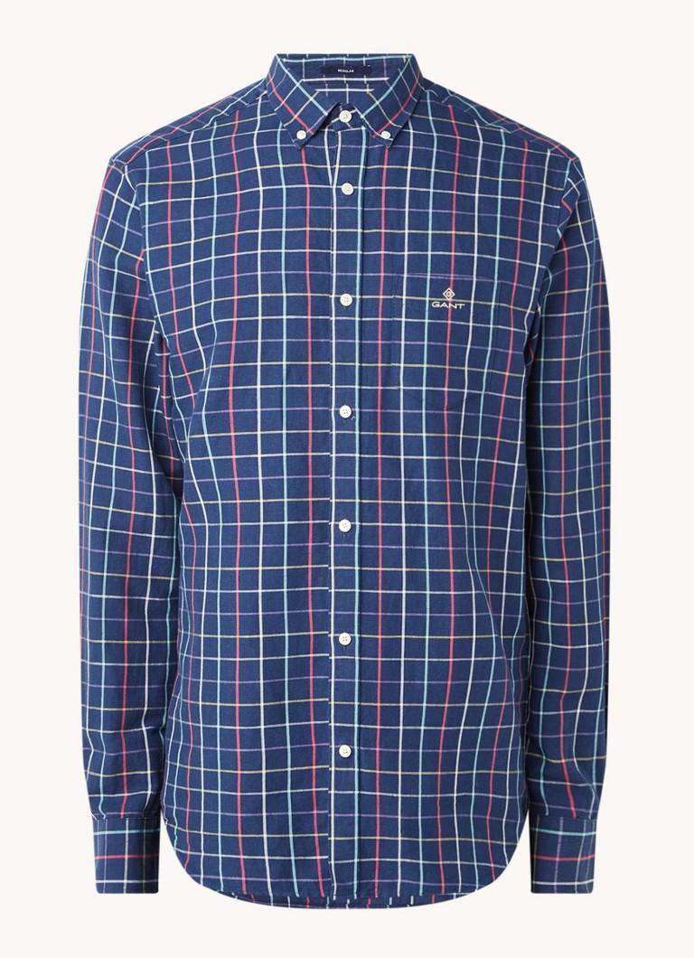 Regular fit overhemd in linnenblend met ruitdessin