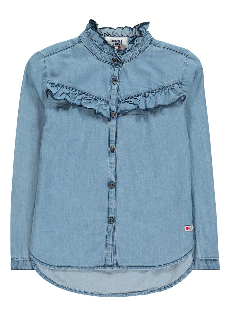 Tumble 'n Dry Dalenia blouse van chambray met ruches
