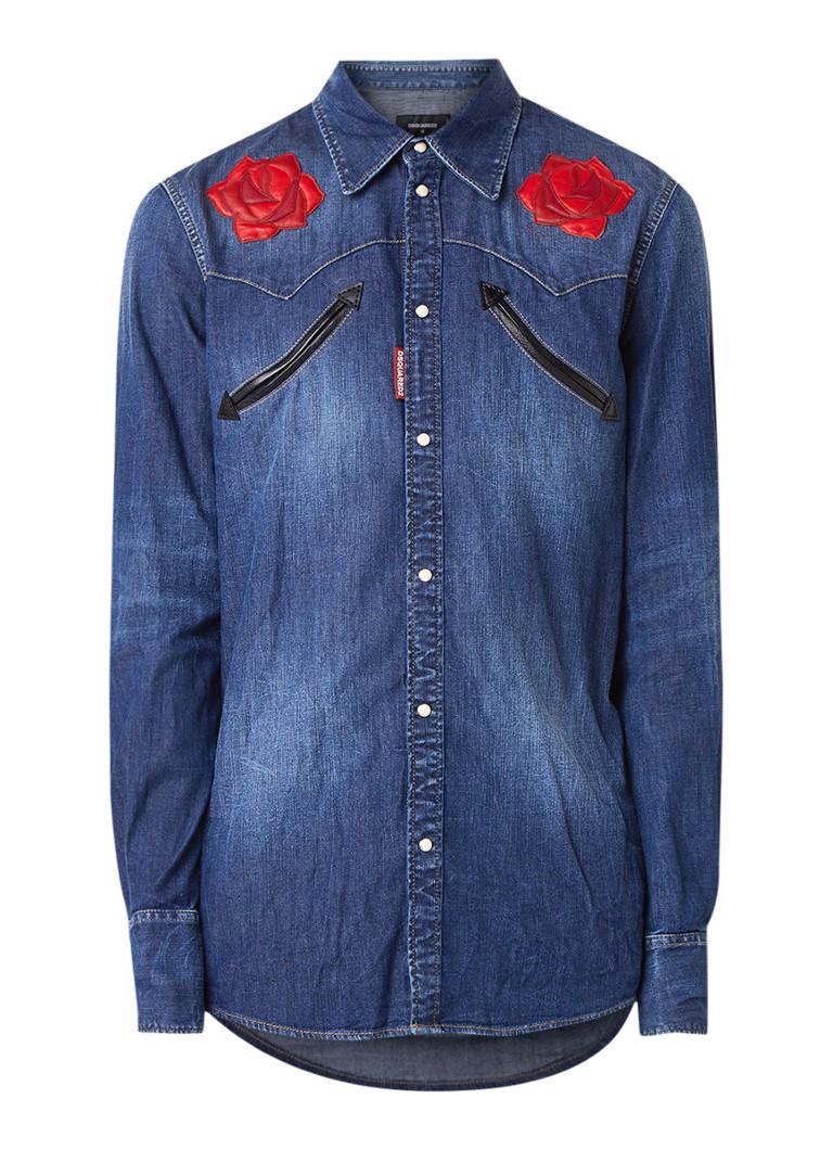 Dsquared2 Western slim fit overhemd van denim met patches