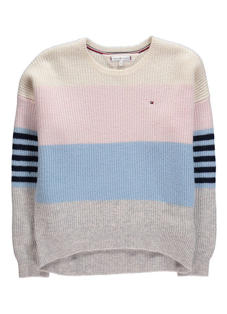 Image of Tommy Hilfiger Fluffy fijngebreide pullover met colour blocking