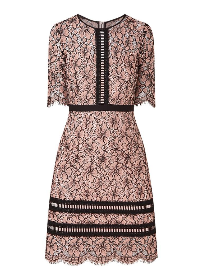 Hobbs Penny midi-jurk van guipure kant oudroze