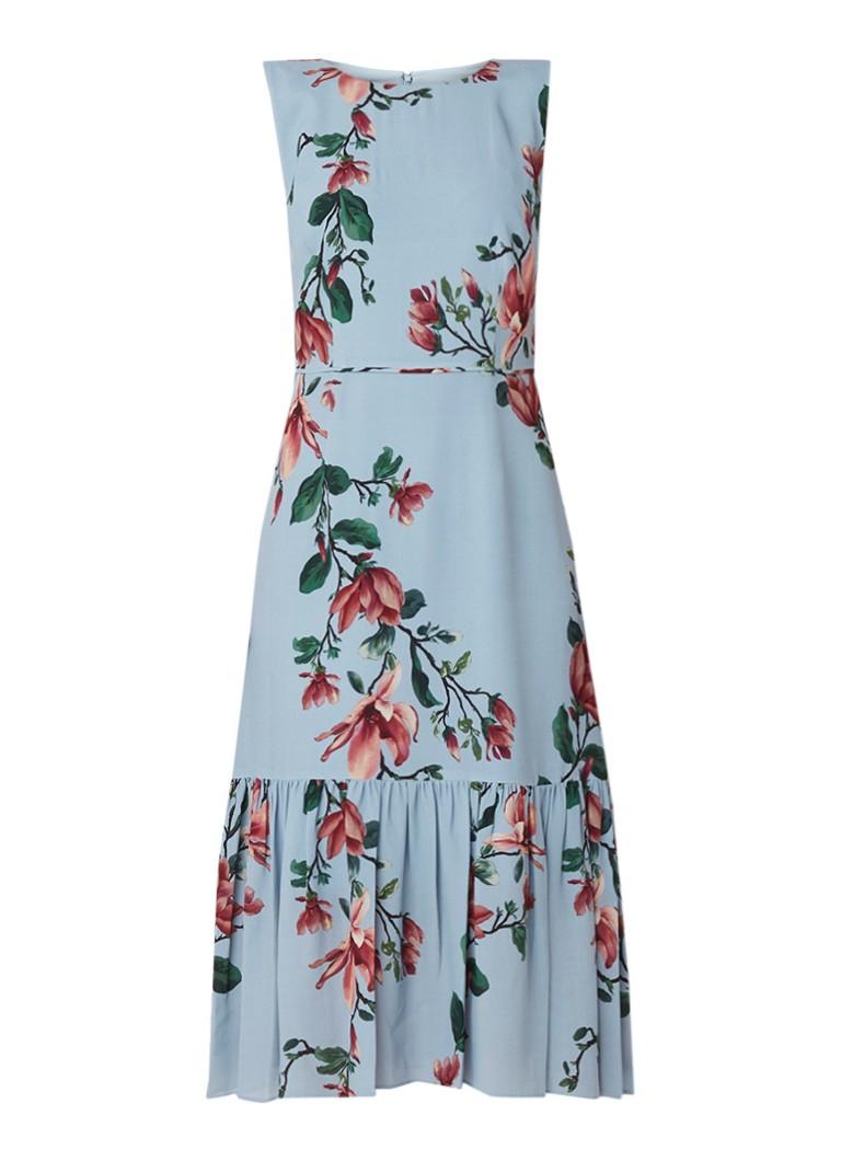 Hobbs Hallie midi-jurk met bloemendessin en volant blauwgrijs
