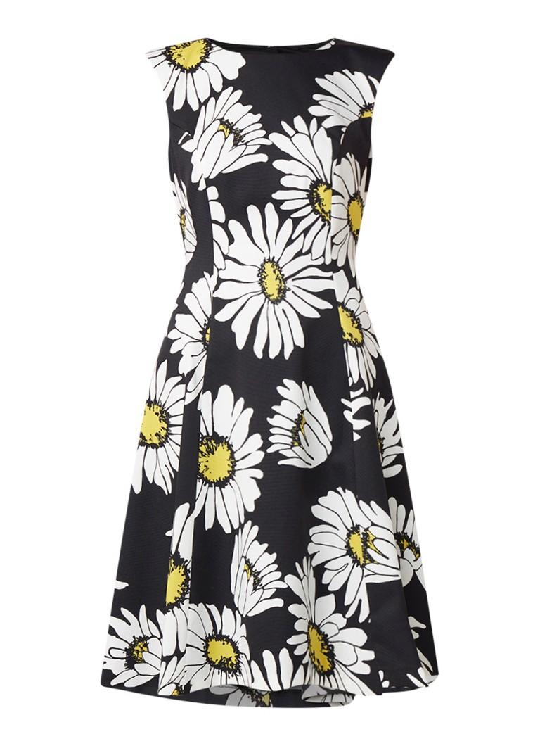 Hobbs Rhona A-lijn jurk met bloemendessin zwart