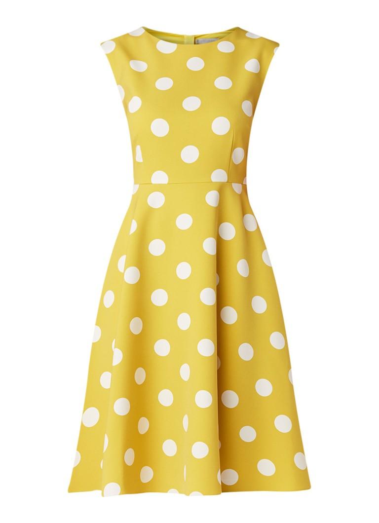 Hobbs Kara mouwloze midi-jurk met stippendessin mosterd