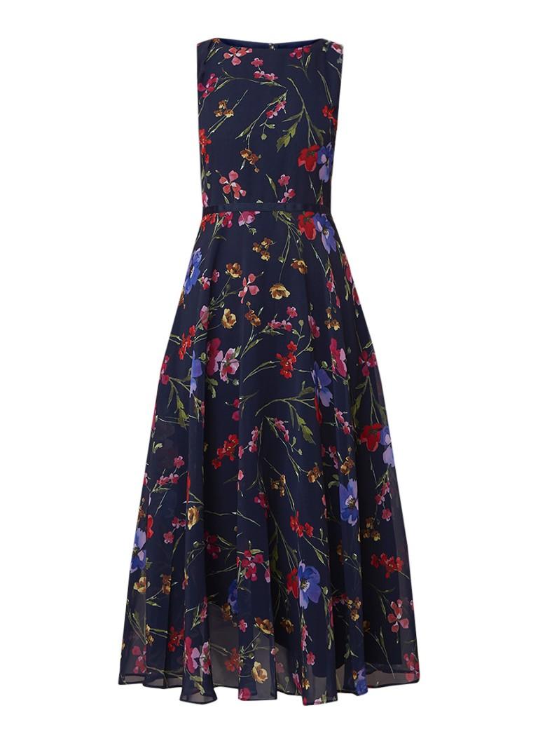 Hobbs Carly mouwloze maxi-jurk met bloemendessin donkerblauw