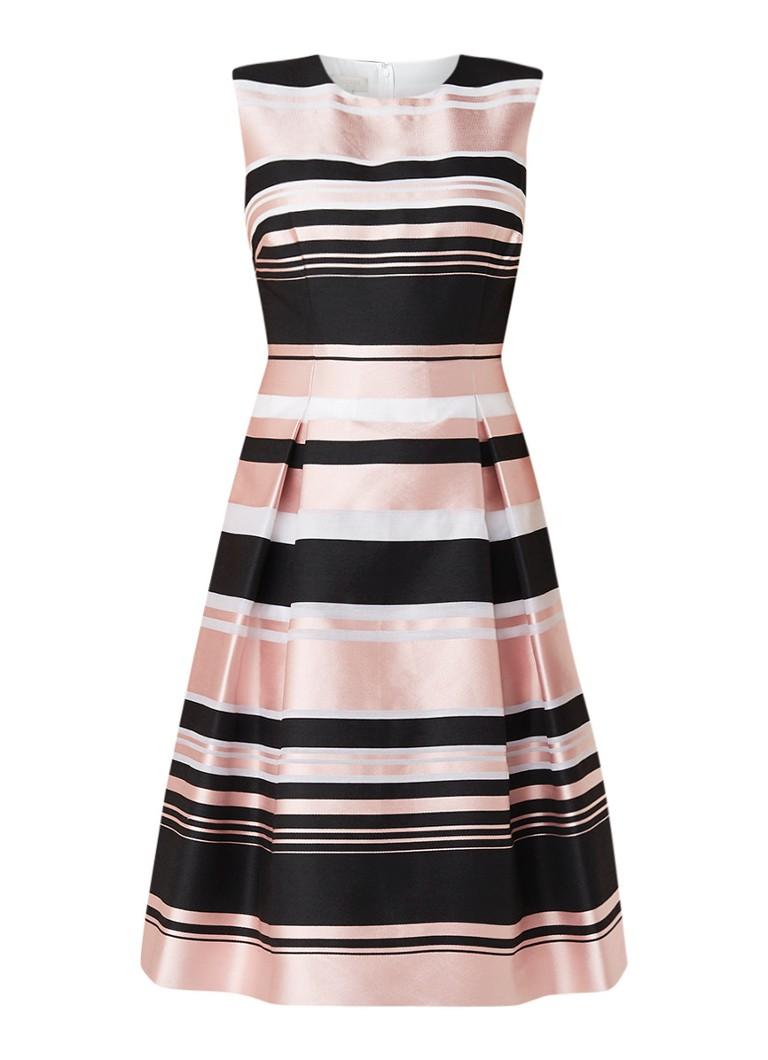 Hobbs Bridgette A-lijn jurk met streepdessin lichtroze
