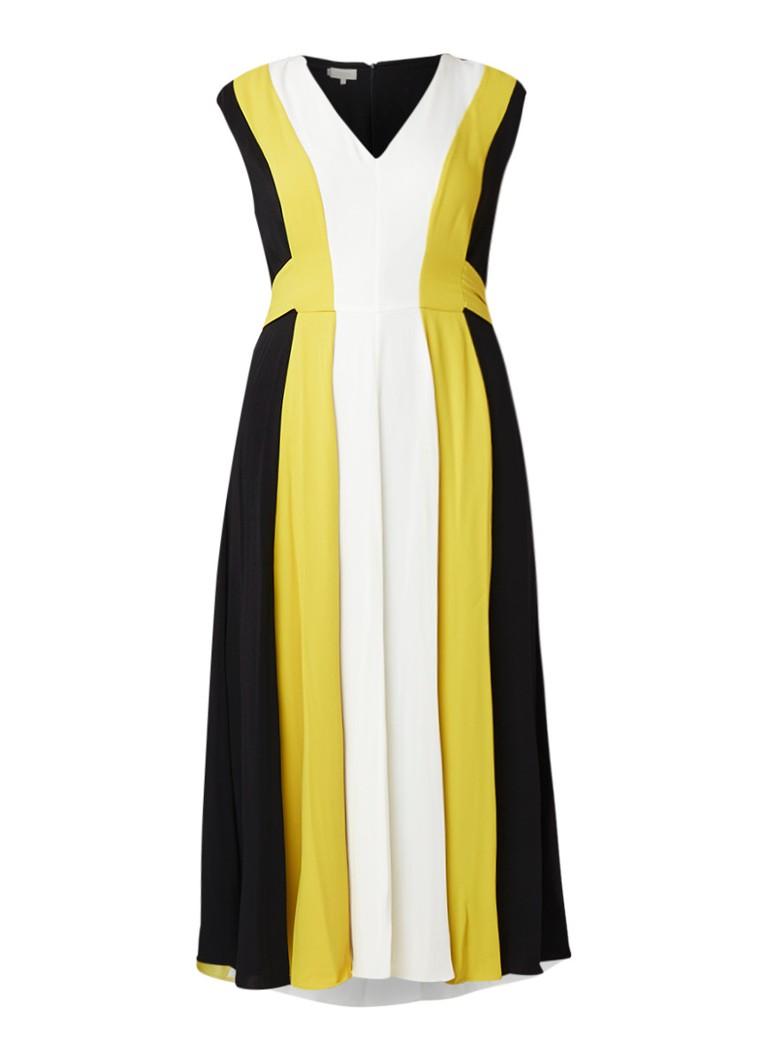 Hobbs Bailly midi-jurk met plissé en colour blocking mosterd