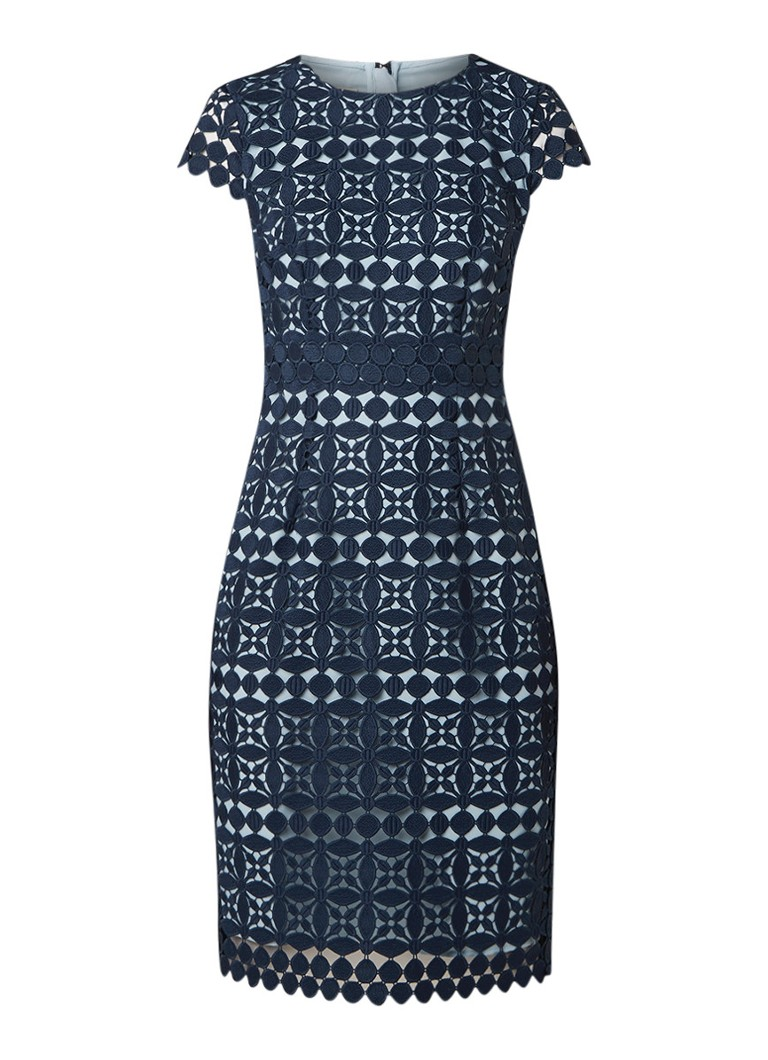 Hobbs Mabelle midi-jurk van gebloemd kant donkerblauw