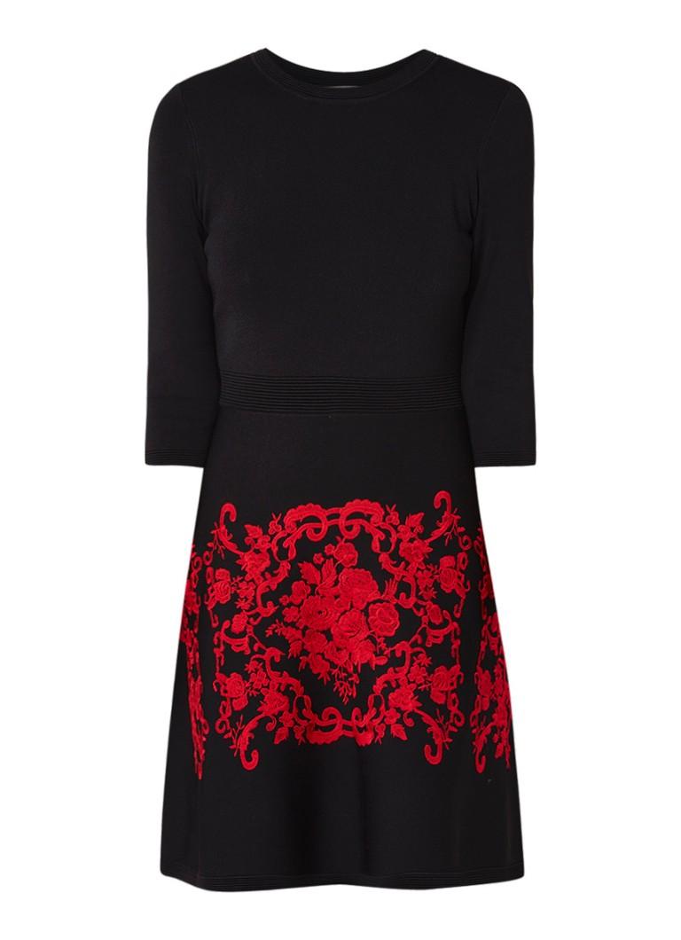 Hobbs Aliza A-lijn jurk met borduring donkerrood