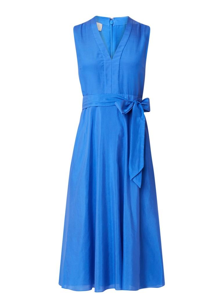 Hobbs Regina midi-jurk in zijdeblend met strikceintuur blauw