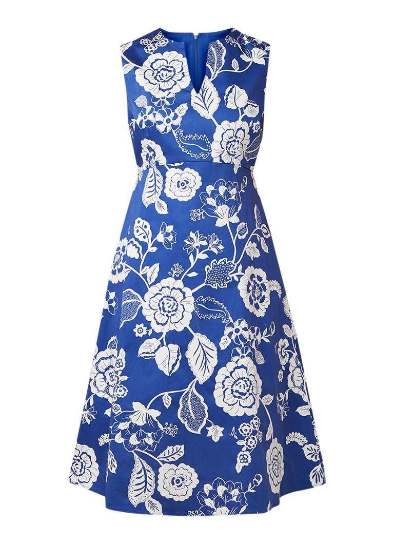 Hobbs Lauren mouwloze midi-jurk met bloemendessin royalblauw