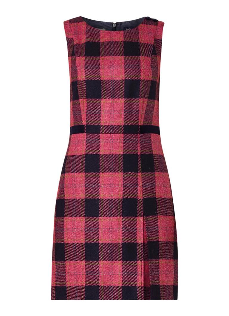 Hobbs Avery mouwloze midi-jurk van wol met ruitdessin donkerroze