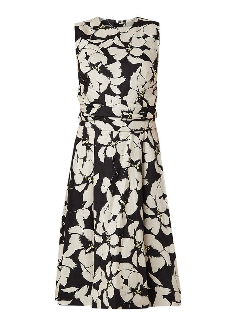 Hobbs Twitchill A-lijn jurk van linnen met dessin zwart