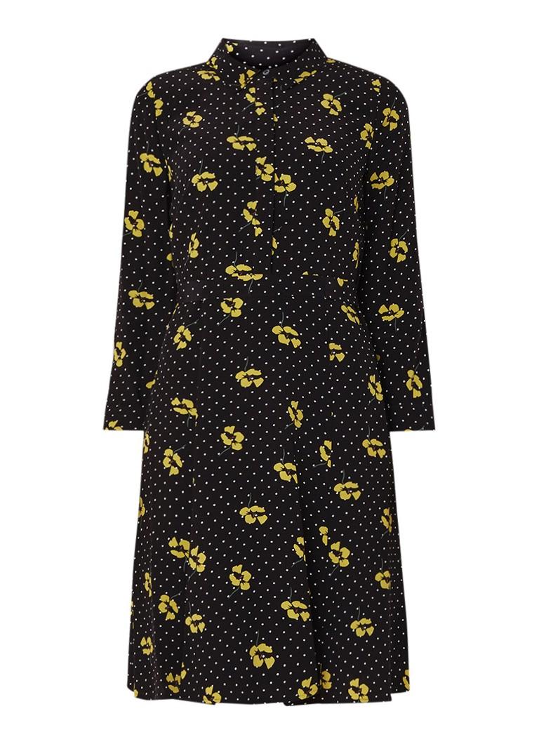 Hobbs Emberly A-lijn blousejurk met gestipt bloemendessin zwart