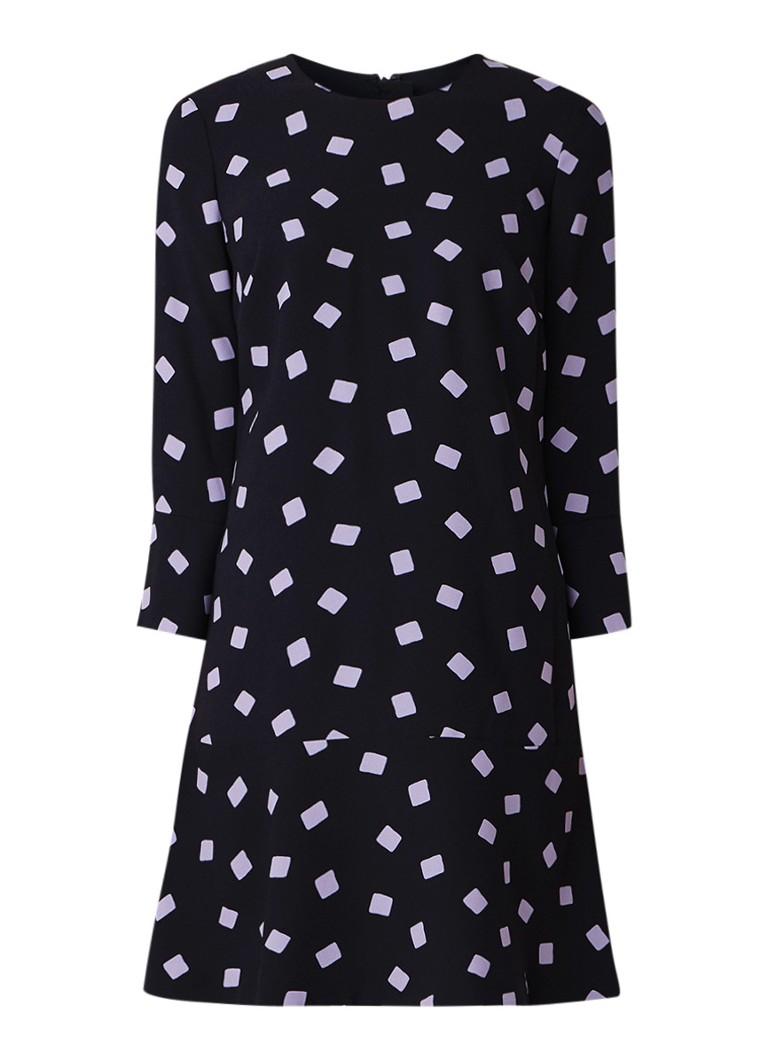 Hobbs Natalia A-lijn jurk van crêpe met klokmouw donkerblauw