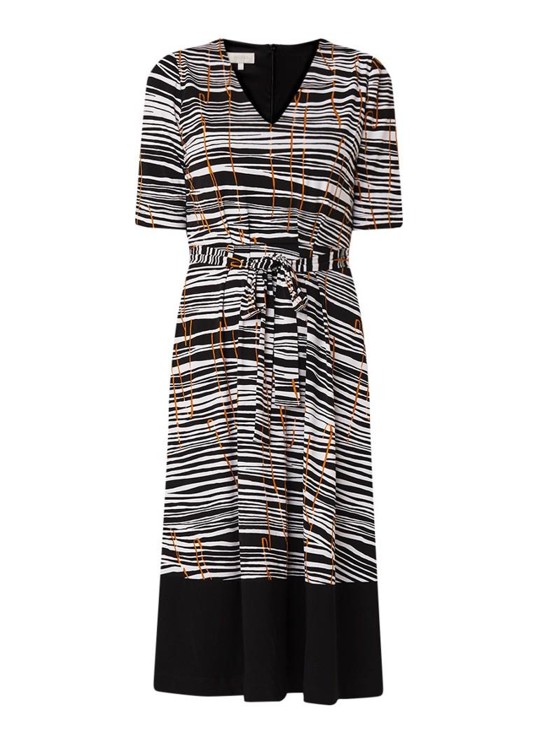 Hobbs Amerlia jersey midi-jurk met dessin zwart