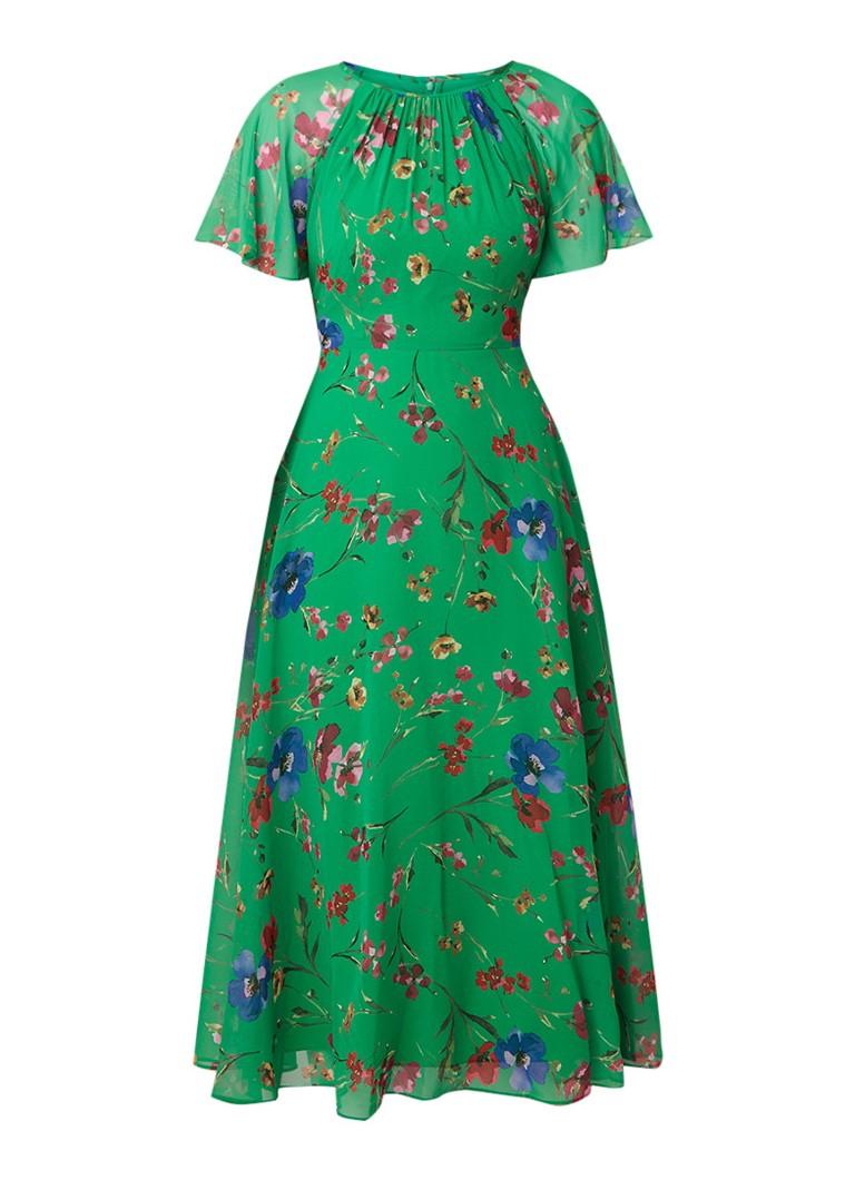 Hobbs Sarah maxi-jurk met bloemendessin en strikceintuur groen