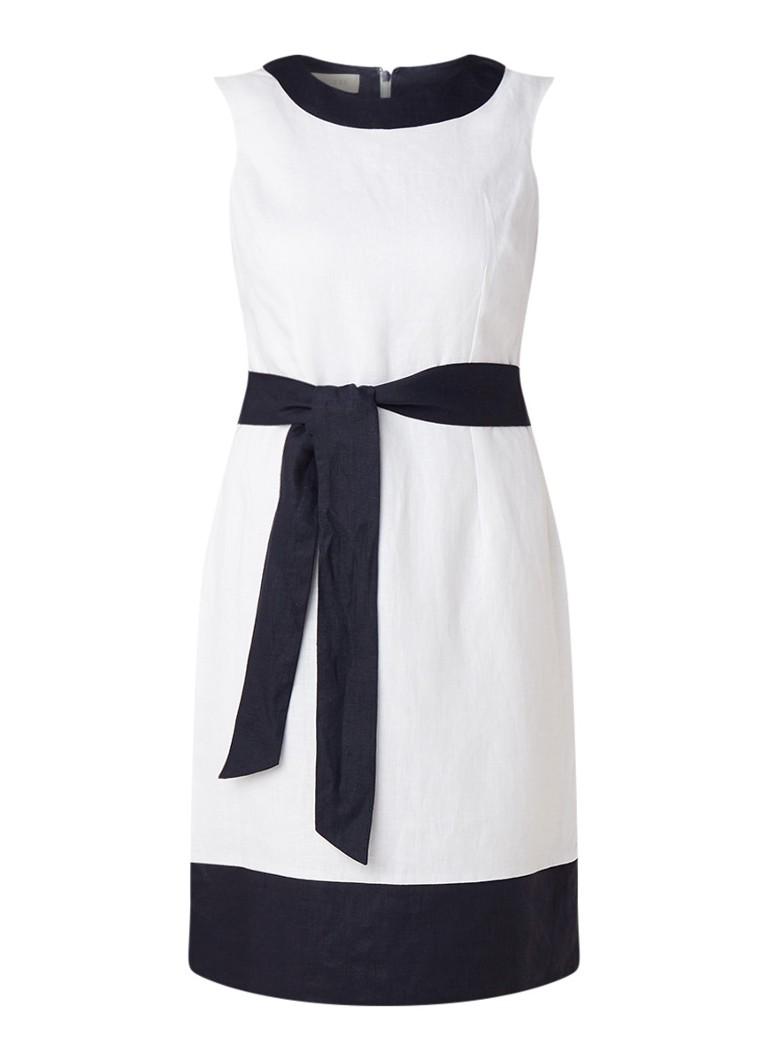 Hobbs Amalfi jurk van linnen met strikceintuur wit